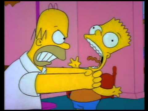 Homer throttling Bart